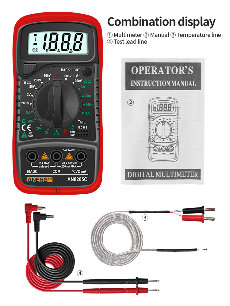 Digital Multimeter Thermocouple Volt-Ohm-Tester AN8205C Portable AC/DC Lcd-Backlight