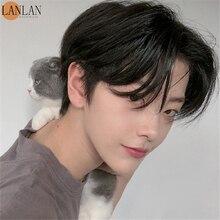 Синтетический парик LANLAN, Мужская челка средней длины, Короткие вьющиеся волосы в Корейском стиле, красивые и реалистичные натуральные пуши...