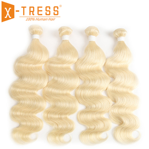 Image 1 - Body Wave Human Hair Bundles X TRESS Brazilian Platinum Blonde 613 Hair Bundles 8 26inch Non remy Bundle Hair Weaving Extensions