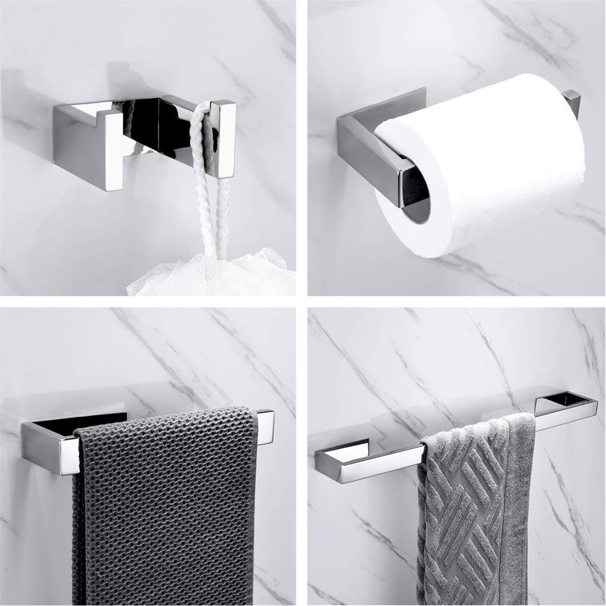 SUS304 Stainless Steel Adhesive Bathroom Accessories Set Chrome Silver Towel Bar Towel Hook Wall Towel Ring Toilet Paper Holder