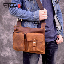 AETOO Handmade retro mens bag crazy horse leather shoulder Messenger diagonal cross trend simple small