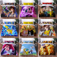 TAKARA TOMY-funda de edredón de Pokémon, edredón de Pikachu, sábana con estampado 3D de dibujos animados, ropa de cama para niños, juego de cama para dormitorio de chico