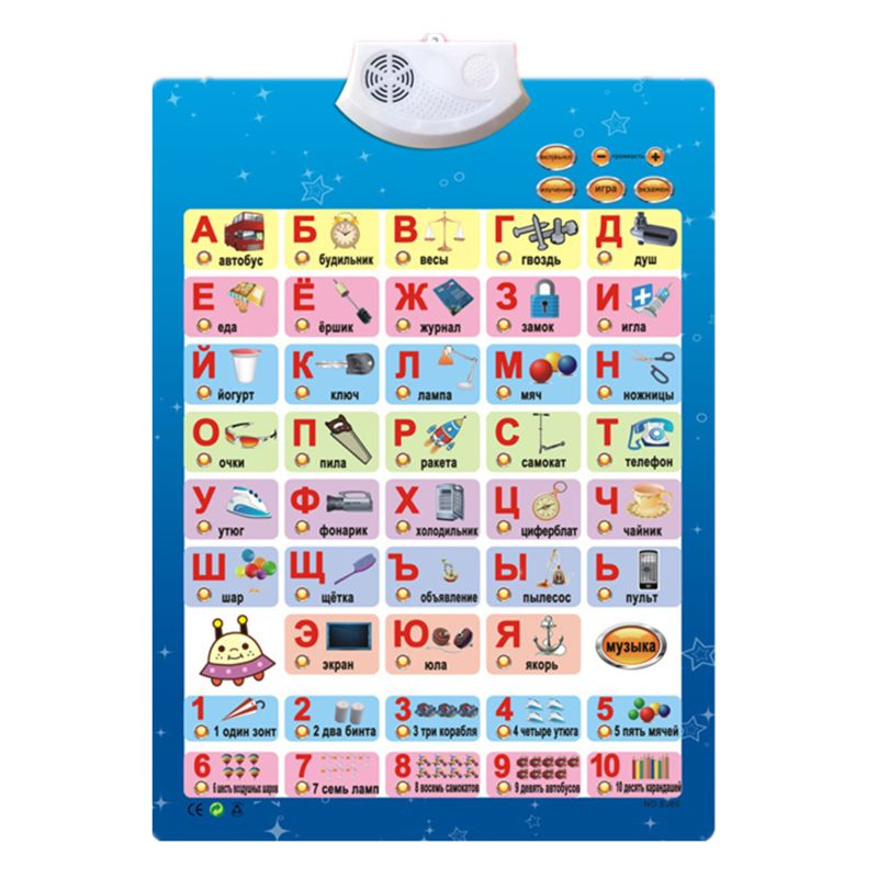 Russian Music Alphabet Talking Poster Russia Kids Education Toys Electronic ABC AXYA
