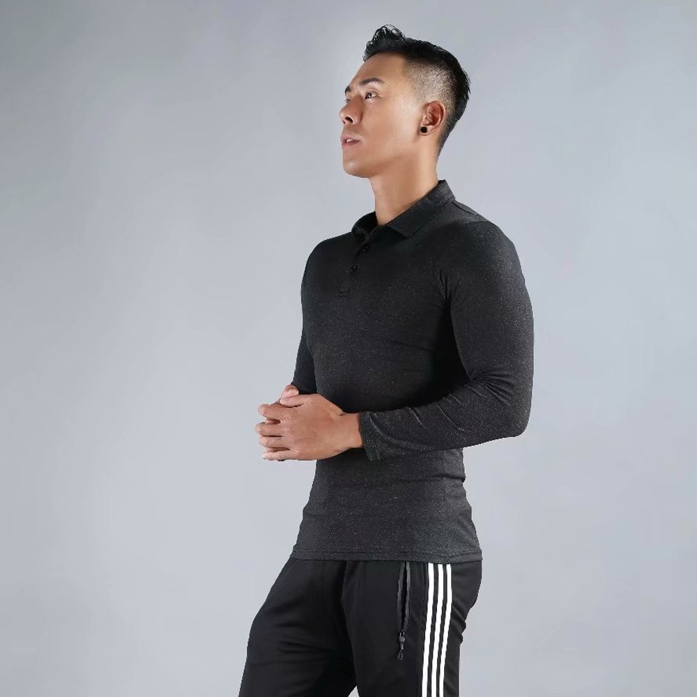 Autumn Polo Shirt Men Long Sleeve Breathable Sport Fitness Gym T Shirt Solid Slim Running Quick Dry Workout Training Polo Tops