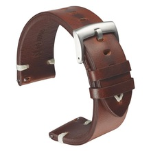 Leather Watchband Strap 18mm 20mm 22mm Quick Release Watch Strap Belt Cowhide Handmade Black Dark Brown Vintage Oil Wax Leather