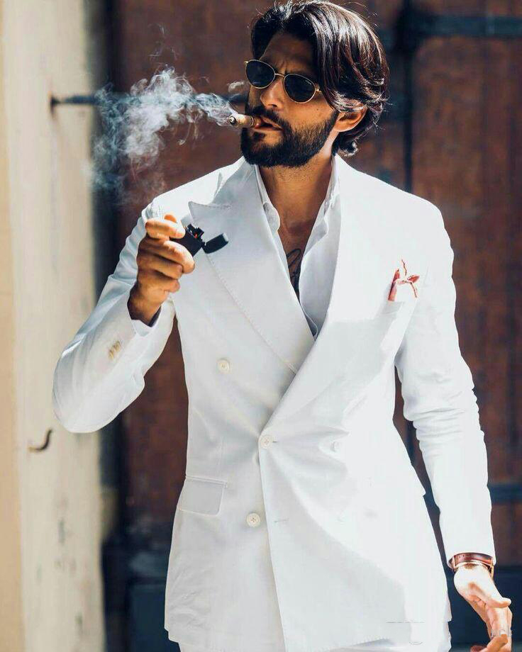 Popular Wedding Linen Men Suits Blazers Custom Made Groom Tuxedos 2 Piece Evening Party Prom Celebration Suit Coat With Pants