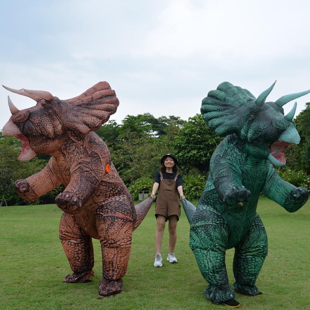 Yeni şişme Dino t-rex Spinosaurus Pterosaur Triceratops yetişkin Velociraptor kostüm maskot Cosplay cadılar bayramı kadınlar adam çocuk