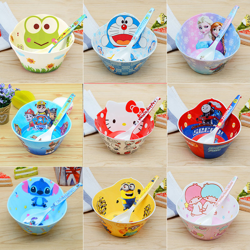 2pc/set Baby Cartoon Melamine Bowls And Spoon Kid Anti-broken Food Feeding Products
