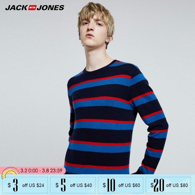 Jack Jones Mens Contrasting Stripe Round Neckline Sweater| 219324523