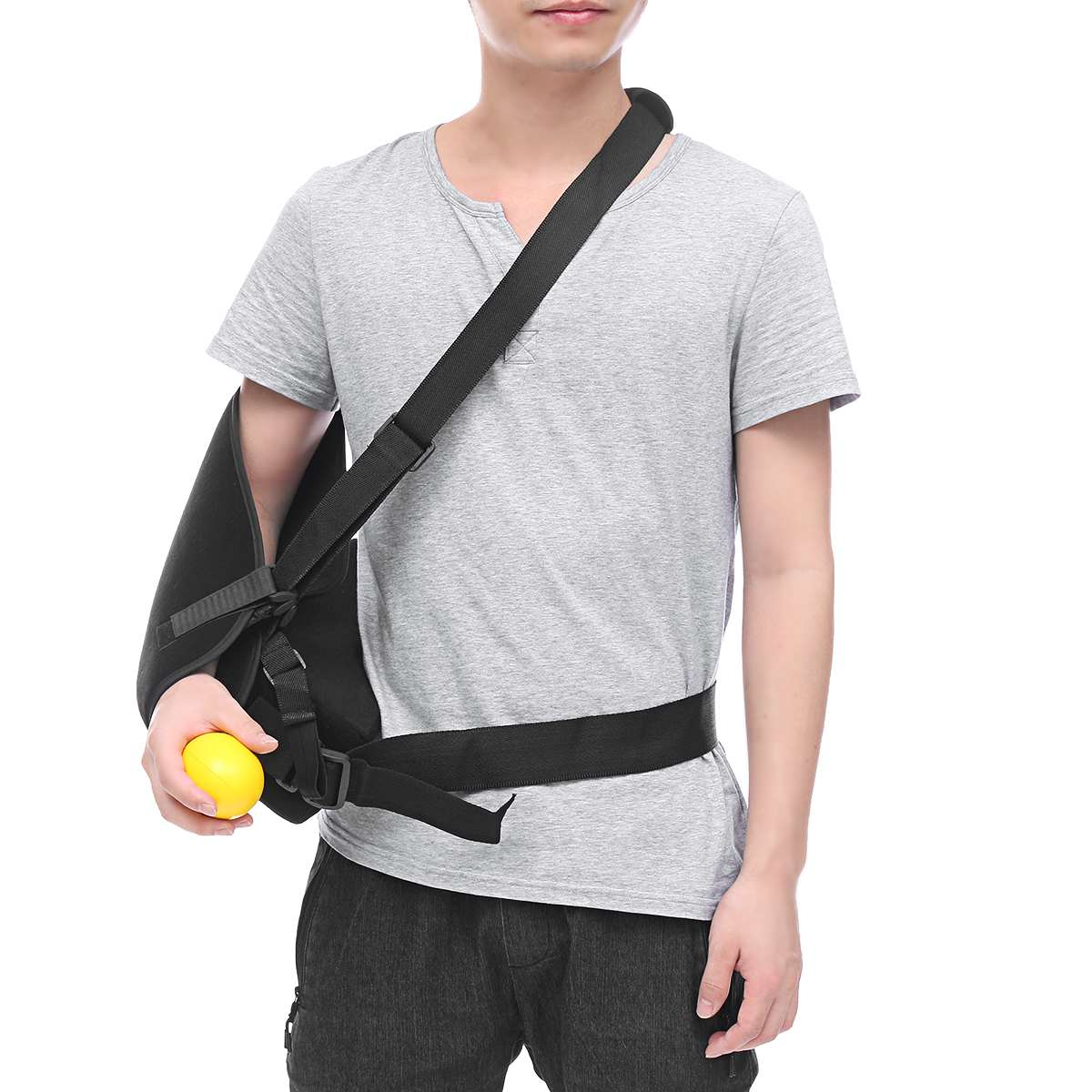 Breathable Adjustable Arm Support Outdoor Traveling Sling Brace Support with Rehabilitation Ball Personal Health Care Protector