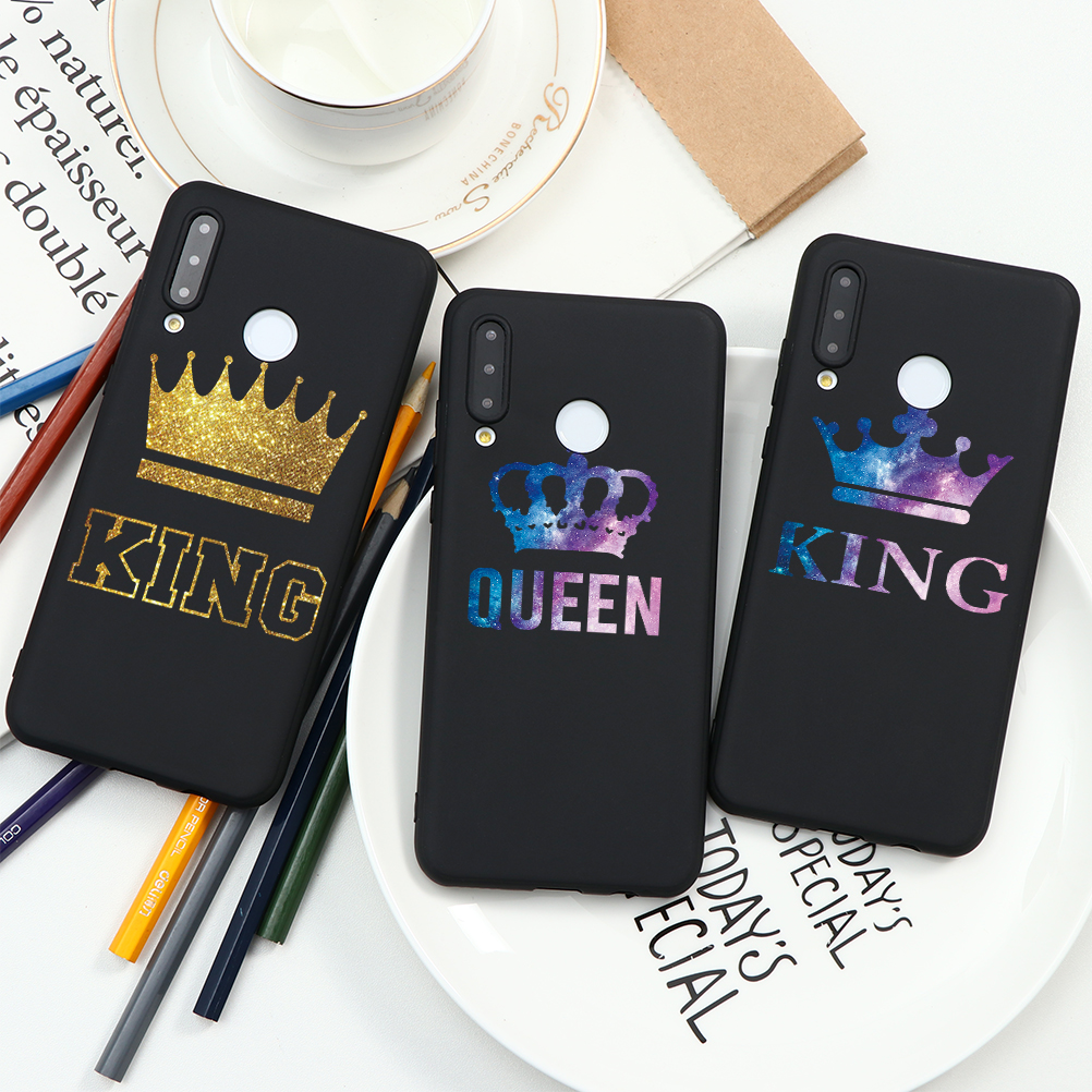 King Queen Couple Matte Case For Huawei P40 P20 P30 Mate 20 30 10 Pro P Smart 2019 P8 P9 P10 Lite E 2017 Phone Case Silicone TPU(China)
