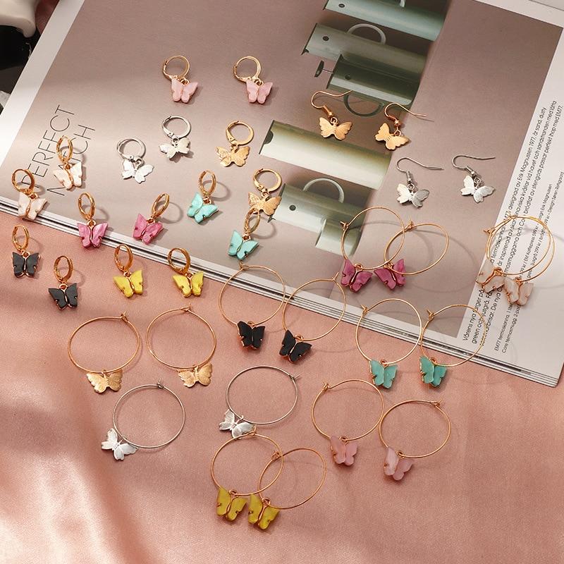 New Korean Cute Tiny Women's Earrings Fashion Color Acrylic Butterfly Stud Earrings Animal Sweet Colorful Earings Girls Jewelry