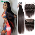 Дева 28 30 40 дюймов 13X6 шнурка бразильские прямые человеческие волосы пряди с закрытием с пряди предварите