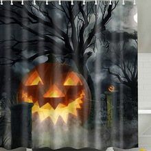 2019 Halloween Shower Curtain Scary Night Pumpkin Tree Castle Shower Curtains Waterproof Bathroom Fabric For Bathtub Art Decor