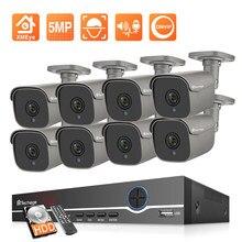 Techage hd 5mp conjunto de câmera ip h.265 cctv sistema 8ch poe nvr kit ao ar livre à prova dp2p água câmera vigilância p2p vídeo gravador áudio