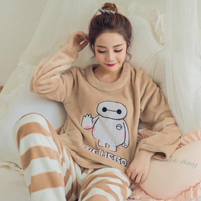 Puls Size XXL Animal Pyjama Striped Women Pajamas Set Coral Flannel Winter Warm Sleep Wear Painted Tops+long Pants Set Nightwear