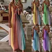 Kadın bayanlar artı boyutu gevşek şerit kolsuz V yaka uzun elbise Maxi elbise vestido de mujer yaz elbisesi платья для женщин