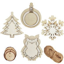42 Pcs 3 Size Christmas Wood Slices Blank Wooden Bauble Tree Owl Snowflake Cutouts and Natural Circles Slice Ornaments with