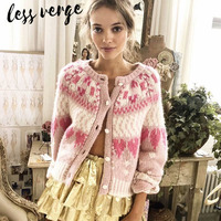 Lessverge Autumn winter heart knitted cardigan Women long sleeve casual cashmere sweater Flower button pink elegant cute sweater