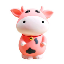 2PCS Pink Cartoon Cow Piggy Bank Creative Coin Money Box Saving Pot Collection Craft Home Ornament 15x18x15cm(China)