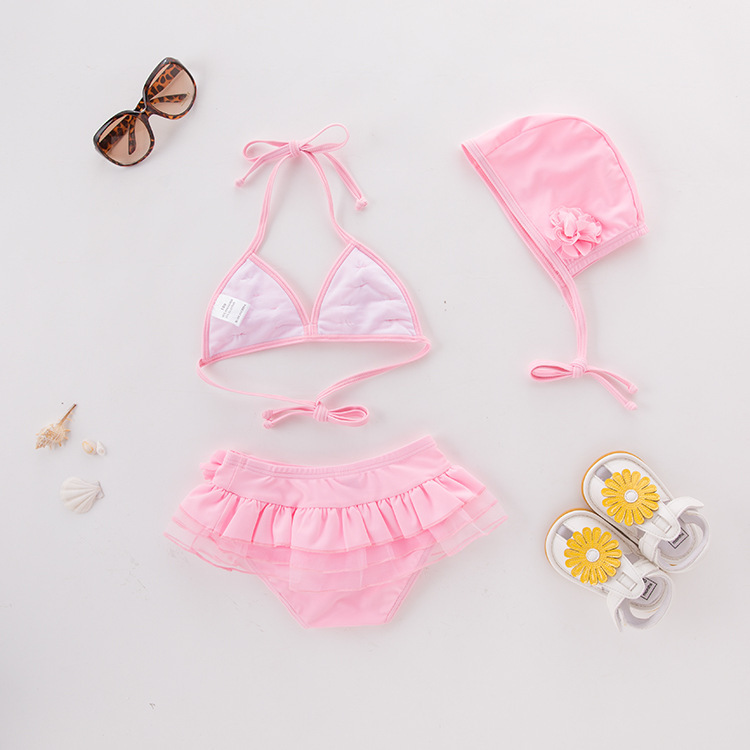 Girls' Two-piece Swimsuit Pink Stereo Floral-Print With Hat-KID'S Swimwear Hot Springs Clothing