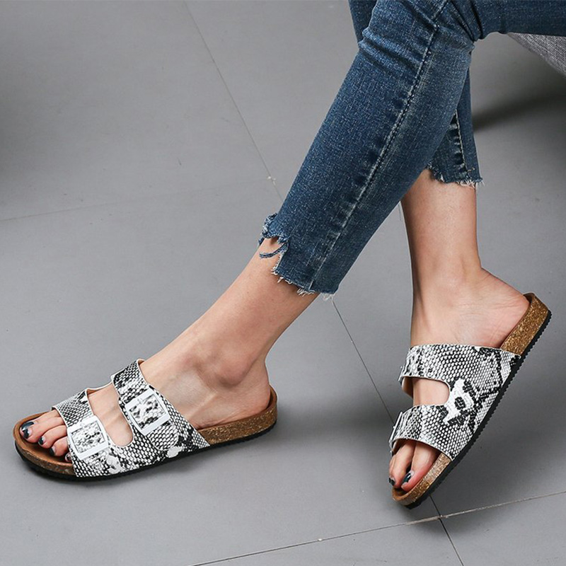 MCCKLE Women Summer Snake Buckle Slipper Ladies Flowers PU Leather Sandals Female Beach Slides Comfort Casual Flat Woman Shoes