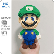 HC 9004 Video Game Super Mario Luigi Green Hero 3D Model 1750pcs DIY Mini Diamond Blocks Bricks Building Toy for Children no Box