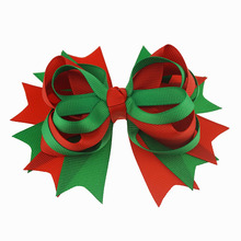 1pc 5Inches Girls Christmas Hair Bows With Hairpins Solid Ribbon Bows Children Headwear Kids Hair Accessories Factory Wholesale 1pc ribbon bows girls hairpins hair accessories kids hair clips hair bows children headwear pin dress accessories ties hair clip