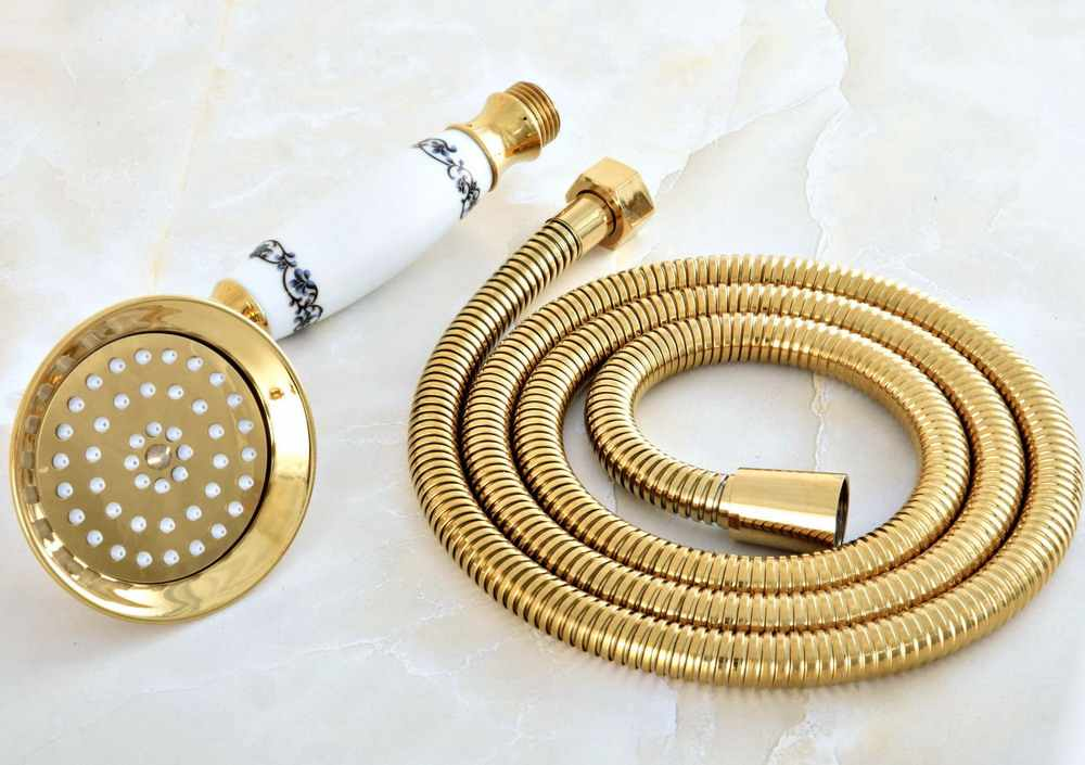 1.5m Gold Color Brass Flexible Bathroom Hand Held Shower Hose and Telephone Style Hand Held Shower Head mhh041