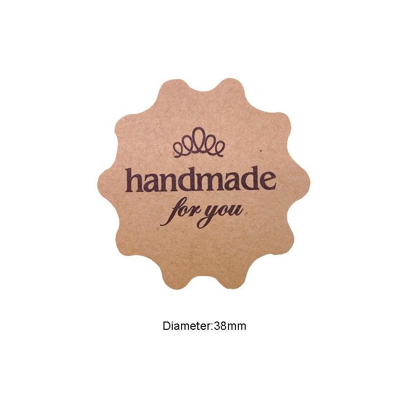 "Купить с кэшбэком 100PCS/lot  Flower Round design ""Handmade for you"" series Kraft paper seal sticker Christmas DIY note gift  Labels"