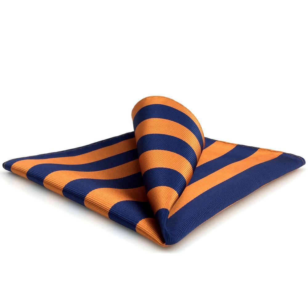 EH27 Blue Orange Striped Pocket Square For Men Handkerchief Classic Hanky