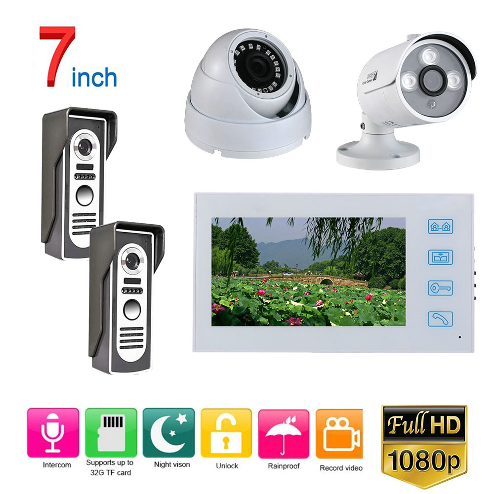 7 Inch Wired Video Door Phone Record Doorbell Intercom System With  2CH  Wired HD 1080P Camera White Video Intercom System Kit