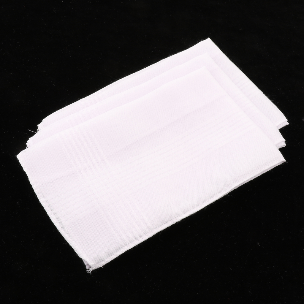 3PCS Solid White Cotton Handkerchiefs Man Woman Party Wedding Hankies Pocket Square White 36 X 35cm