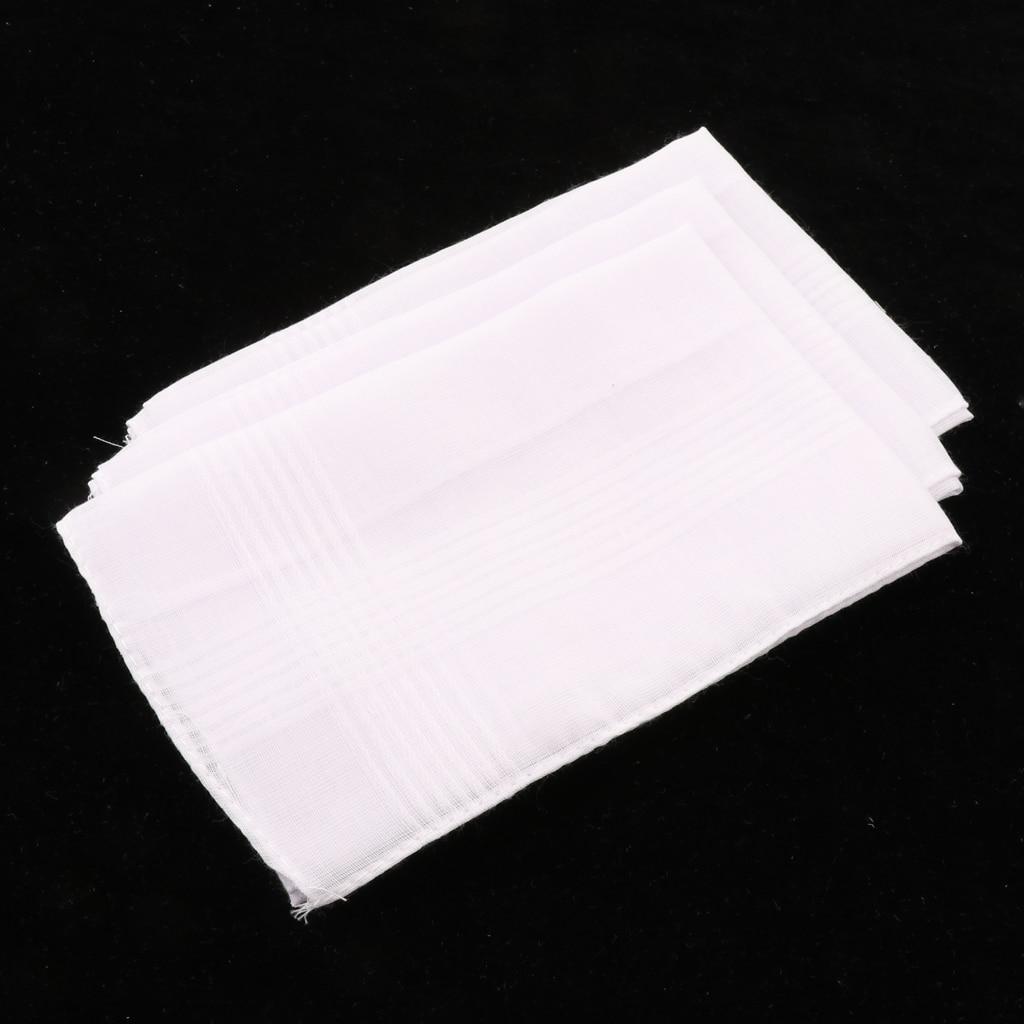 3PCS Solid White Cotton Handkerchiefs Man Woman Party Wedding Hankies Pocket Square White 36 X 35cm