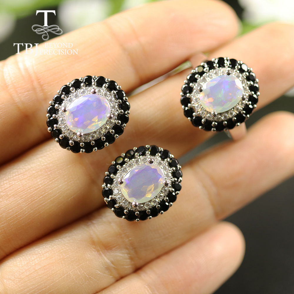 TBJ, Natural 3.8ct Opal Jewelry Set Oval Cut 7*9mm Real Gemstone Jewelry 925 Sterling Silver Fine Jewelry For Women Best Gift