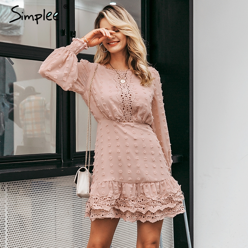 Simplee Elegant Women Lace Dress Chic Long Sleeve Embroidery Dots Dresses Luxury Autumn Slim Female Evening Party Dress Vestidos
