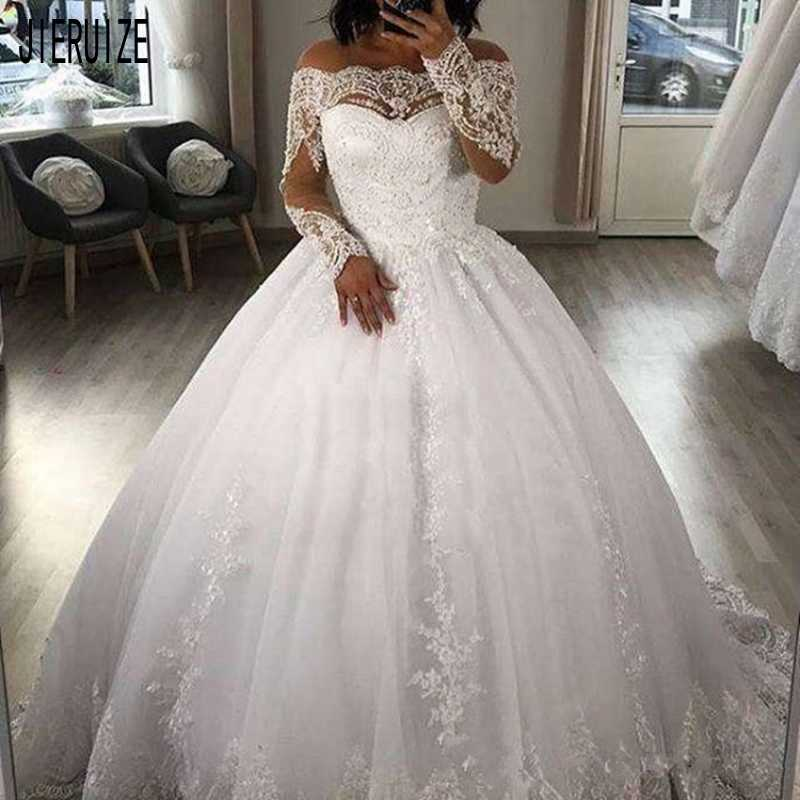 JIERUIZE Gorgeous Dubai Ball Gown Wedding Dress Boat Neck Long Sleeve With Lace Appliques Beaded Bridal Gowns Vestido De Noiva