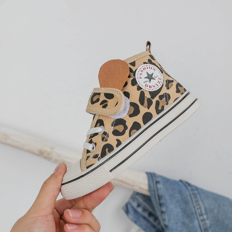 KushyShoo Korean Leopard Pattern High-top Children Shoes 2020 Spring Velcro Breathable Boys Canvas Shoes Kids Sneakers For Girls