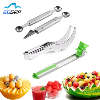 muti function fruit slicer melon watermelon slicer melon cutter practical fruit kitchen tool Stainless Steel Watermelon Slicer Fruit Knife Windmill Cutter Ice Cream Dig Ball melon baller scoop Assorted Cold Kitchen Tools