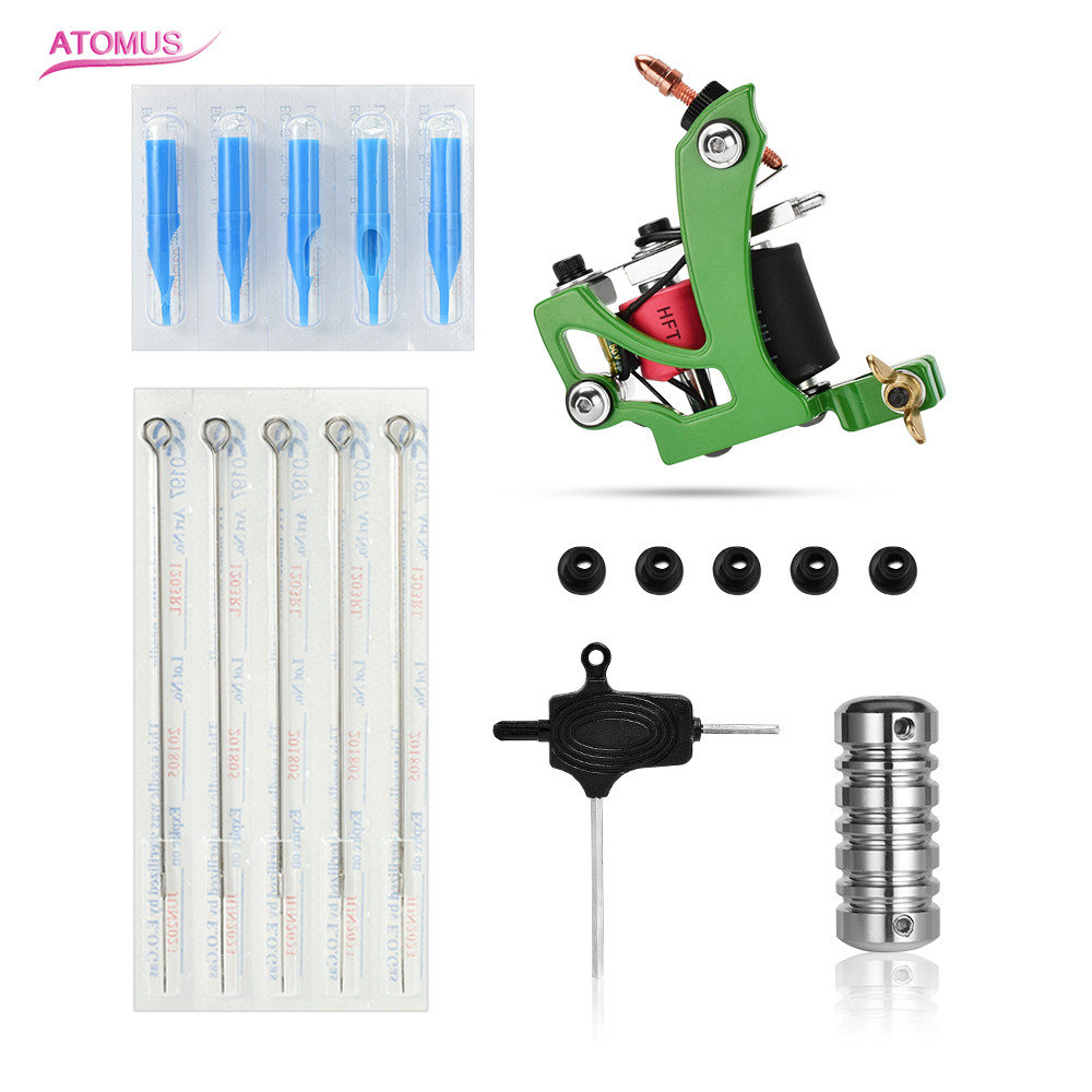 Tatto Machine Set Green Coil Tattoo Kit Professional De Tatuagem Maquina Bobina Needles Grip Nozzle Tips Silicone T Type