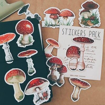 17PCS Wild Mushroom Stickers Crafts And Scrapbooking Stickers Book Student Label Decorative Sticker DIY Stationery