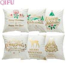 QIFU Merry Christmas Ornaments Decorations For Home 2019 Navidad  Deer Head Pillow Gifts Happy New Year 2020