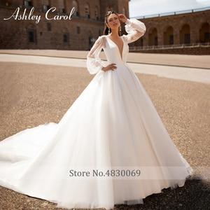 Image 3 - Ashley Carol Satin A Line Wedding Dress 2020 Sexy V neck Backless Shining Puff Sleeve Vintage Wedding Gowns Vestido De Noiva
