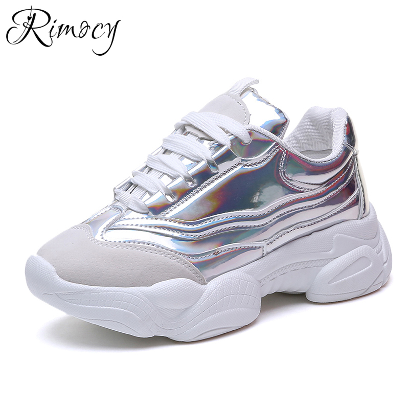 Gold Silver Laser Chunky Sneakers Women