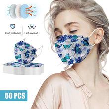 Mascarillas protectoras con estampado de mariposa para mujer, máscara de tejido grueso a la moda, sin decoración, 50 unidades