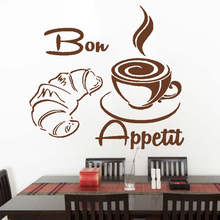 Coffee Croissant Vinyl Sticker Bon Appetit For Kitchen Restaurant Dining Hall Waterproof Wallpaper Mdern Wall Decals Decor HQ868