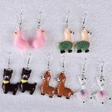 Alpaca Earrings Jewellery Lama Cute Gift Drop-Dangle Women Kawaii Resin Animal Ornament