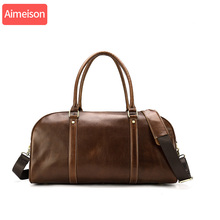 Men genuine leather travel…