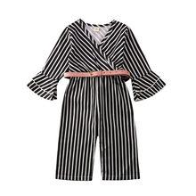 Комплект из 2 предметов; комбинезон в полоску для маленьких девочек; От 1 до 6 лет комбинезон с расклешенными рукавами и v-образным вырезом+ пояс; комплекты одежды