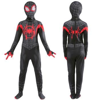 цена Black Spiderman 3D Print Costume Adult Kids Boys Spider Man Cosplay Costume Superhero Zentai Spiderman Suit онлайн в 2017 году